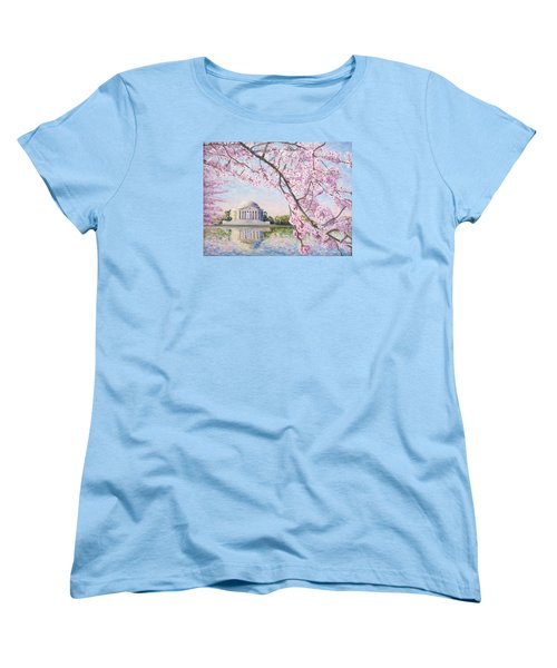Jefferson Memorial Cherry Blossoms Women's T-Shirt (Standard Cut) by Patty Kay Hall