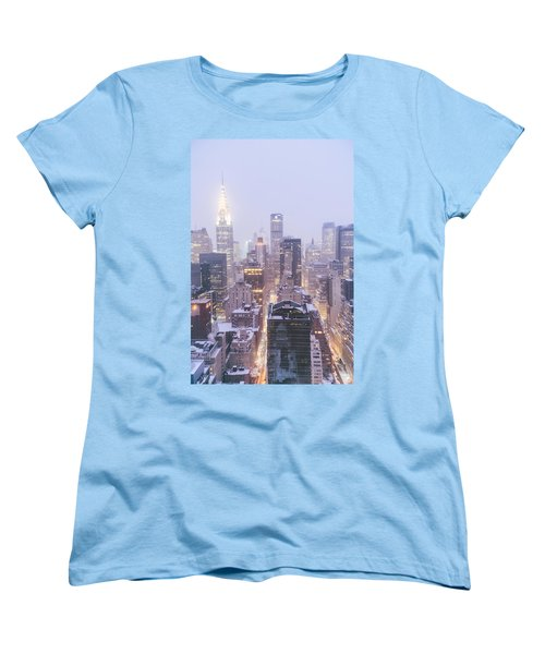 Chrysler Building And Skyscrapers Covered In Snow - New York City Women's T-Shirt (Standard Cut) by Vivienne Gucwa