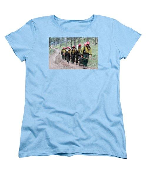 Women's T-Shirt (Standard Cut) featuring the photograph Fire Crew Walks To Their Assignment On Myrtle Fire by Bill Gabbert