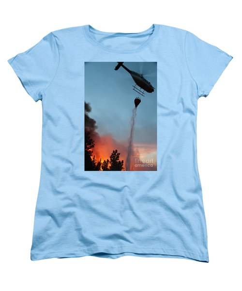 Women's T-Shirt (Standard Cut) featuring the photograph Helicopter Drops Water On White Draw Fire by Bill Gabbert