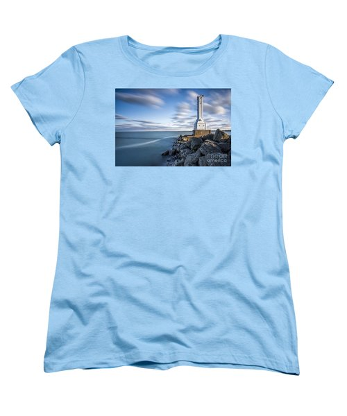 Huron Harbor Lighthouse Women's T-Shirt (Standard Cut) by James Dean