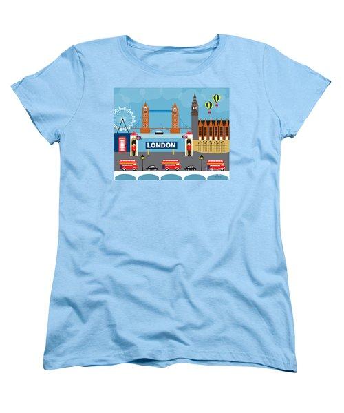 London England Skyline By Loose Petals Women's T-Shirt (Standard Cut) by Karen Young