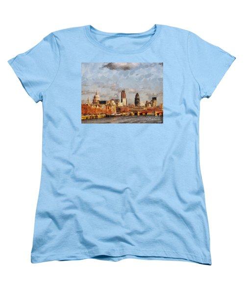 London Skyline From The River  Women's T-Shirt (Standard Cut) by Pixel Chimp