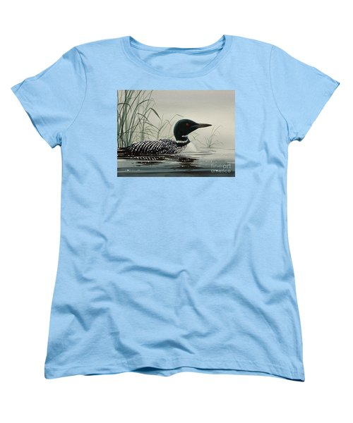 Loon Near The Shore Women's T-Shirt (Standard Cut) by James Williamson