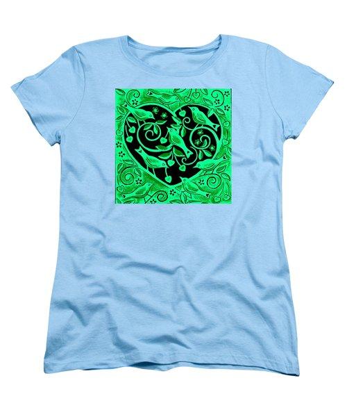 Love Birds, 2012 Woodcut Women's T-Shirt (Standard Cut) by Nat Morley