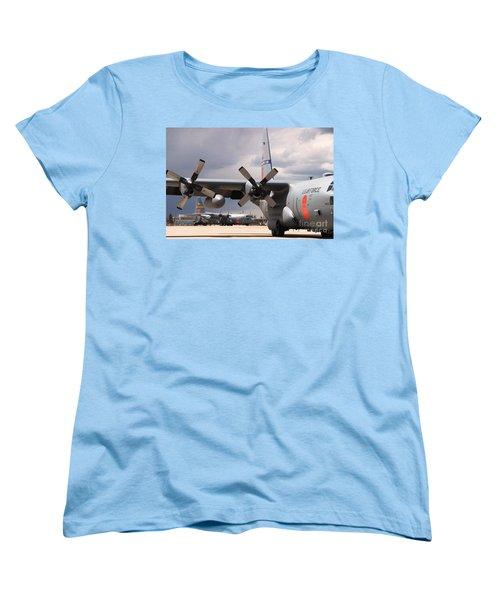 Women's T-Shirt (Standard Cut) featuring the photograph Maffs C-130s At Cheyenne by Bill Gabbert