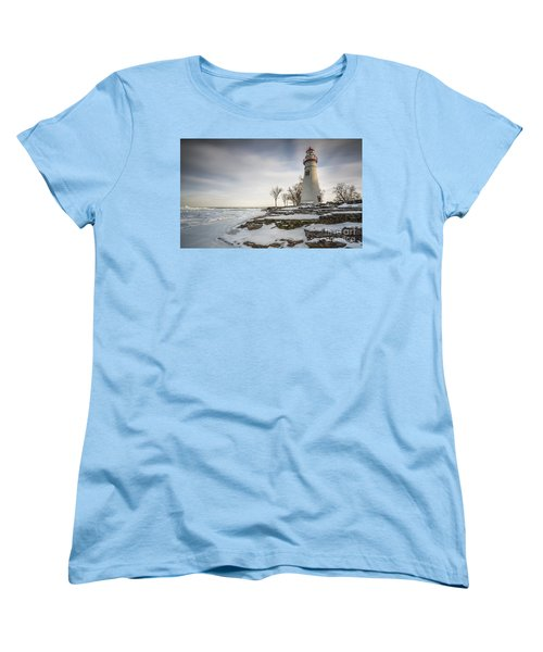 Marblehead Lighthouse Winter Women's T-Shirt (Standard Cut) by James Dean