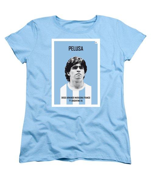 My Maradona Soccer Legend Poster Women's T-Shirt (Standard Cut) by Chungkong Art