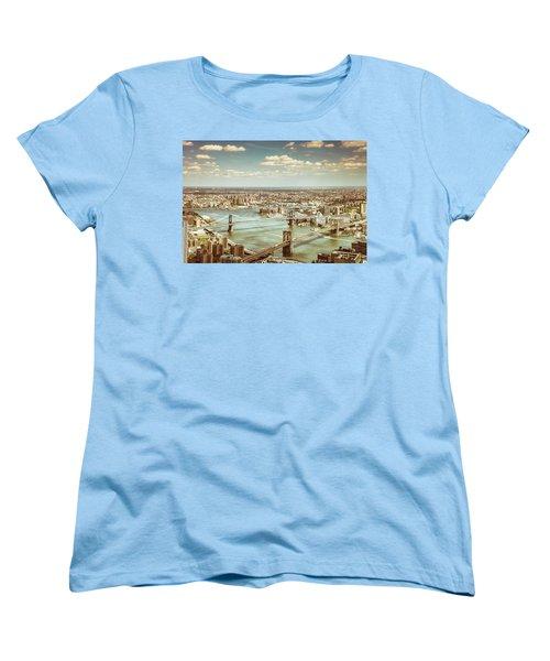 New York City - Brooklyn Bridge And Manhattan Bridge From Above Women's T-Shirt (Standard Cut) by Vivienne Gucwa