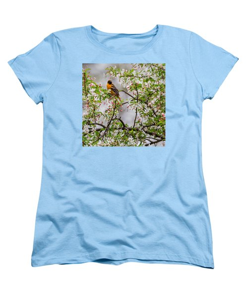 Oriole In Crabapple Tree Square Women's T-Shirt (Standard Cut) by Bill Wakeley