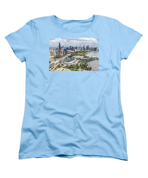 Soldier Field And Chicago Skyline Women's T-Shirt (Standard Cut) by Adam Romanowicz