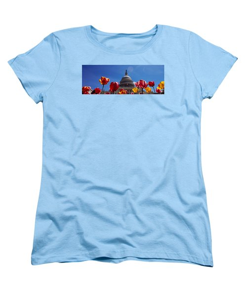 Tulips With A Government Building Women's T-Shirt (Standard Cut) by Panoramic Images