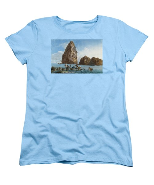 View Of The Rocks On The Third Island Of Cyclops Women's T-Shirt (Standard Cut) by Jean-Pierre-Louis-Laurent Houel
