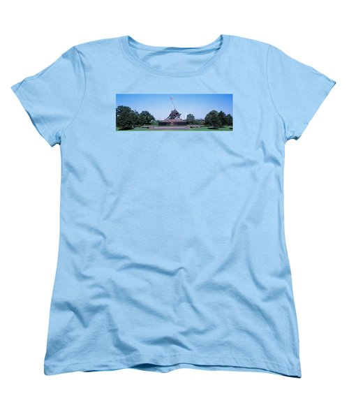 War Memorial With Washington Monument Women's T-Shirt (Standard Cut) by Panoramic Images