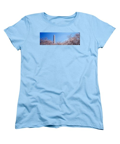Washington Monument Behind Cherry Women's T-Shirt (Standard Cut) by Panoramic Images