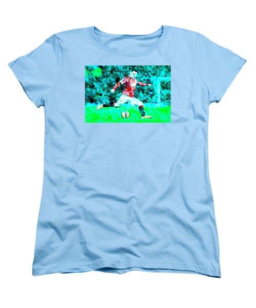Wayne Rooney Splats Women's T-Shirt (Standard Cut) by Brian Reaves