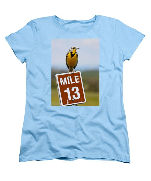 Western Meadowlark On The Mile 13 Sign Women's T-Shirt (Standard Cut) by Karon Melillo DeVega