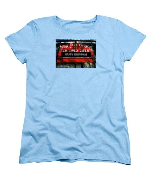 Wrigley Field -- Happy Birthday Women's T-Shirt (Standard Cut) by Stephen Stookey
