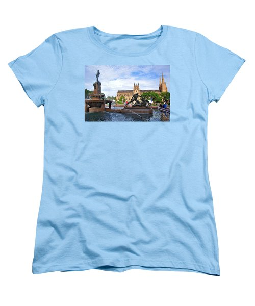 Hyde Park Fountain And St. Mary's Cathedral Women's T-Shirt (Standard Cut) by Kaye Menner
