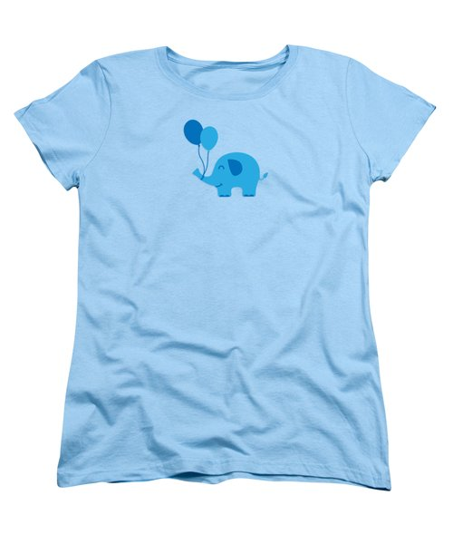 Sweet Funny Baby Elephant With Balloons Women's T-Shirt (Standard Cut) by Philipp Rietz
