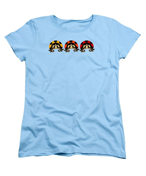 3 Bugs In A Row Women's T-Shirt (Standard Cut) by Sarah Greenwell