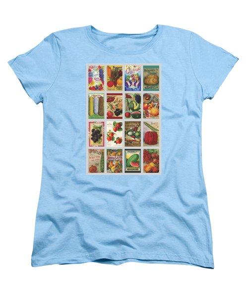 Vintage Farm Seed Packs Women's T-Shirt (Standard Cut) by Debbie Karnes
