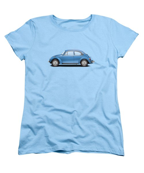 1975 Volkswagen Super Beetle - Ancona Blue Metallic Women's T-Shirt (Standard Cut) by Ed Jackson