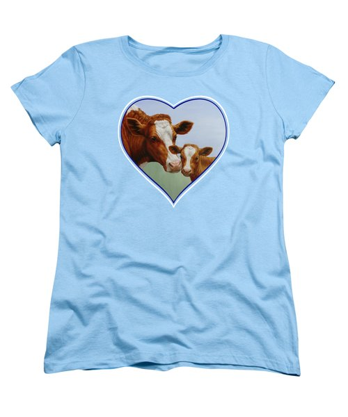 Cow And Calf Blue Heart Women's T-Shirt (Standard Cut) by Crista Forest