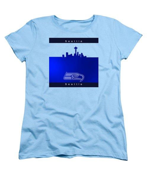 Seattle Seahawks Skyline Women's T-Shirt (Standard Cut) by Alberto RuiZ
