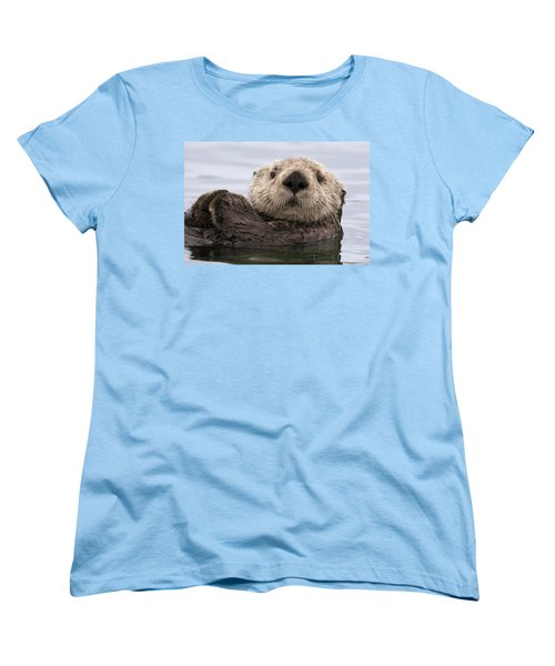 Sea Otter Elkhorn Slough Monterey Bay Women's T-Shirt (Standard Cut) by Sebastian Kennerknecht