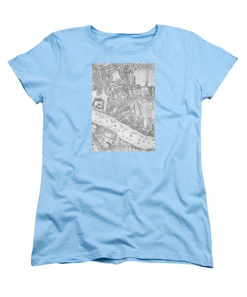 A Map Of The Tower Of London Women's T-Shirt (Standard Cut) by John Rocque