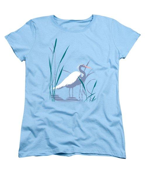 abstract Egret graphic pop art nouveau 1980s stylized retro tropical florida bird print blue gray  Women's T-Shirt (Standard Cut) by Walt Curlee