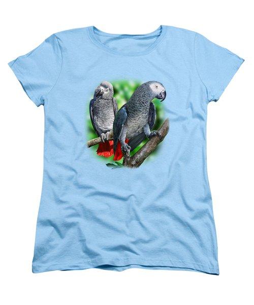 African Grey Parrots A Women's T-Shirt (Standard Cut) by Owen Bell