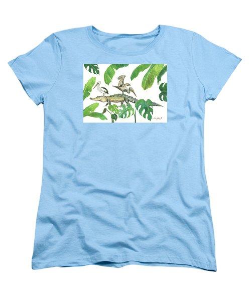Alligator And Pelicans Women's T-Shirt (Standard Cut) by Juan Bosco