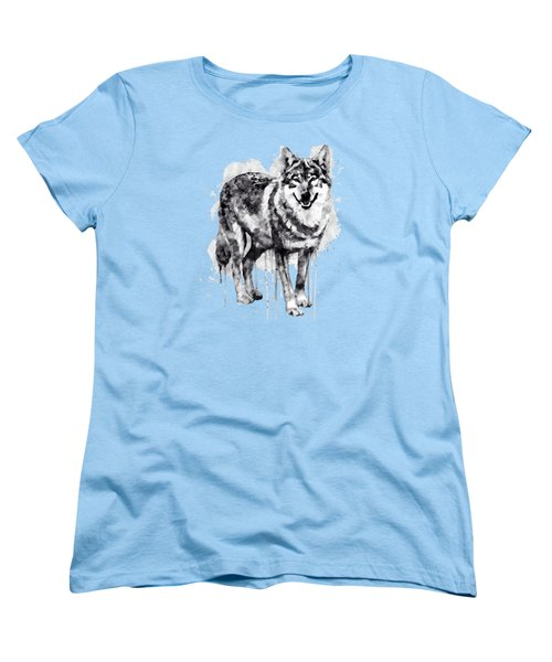 Alpha Wolf Black And White Women's T-Shirt (Standard Cut) by Marian Voicu