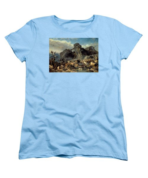 Animals Leaving The Ark, Mount Ararat  Women's T-Shirt (Standard Cut) by Filippo Palizzi