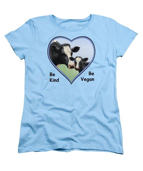 Holstein Cow And Calf Blue Heart Vegan Women's T-Shirt (Standard Cut) by Crista Forest