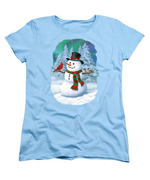 Sharing The Wonder - Christmas Snowman And Birds Women's T-Shirt (Standard Cut) by Crista Forest
