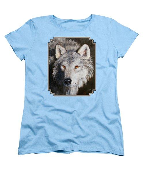 Wolf Portrait Women's T-Shirt (Standard Cut) by Crista Forest
