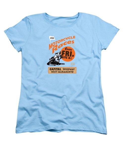 Motorcycle Speedway Races Women's T-Shirt (Standard Cut) by Mark Rogan