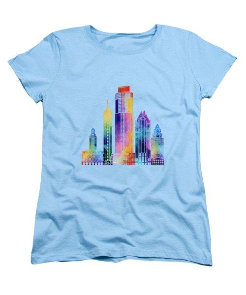 Austin Landmarks Watercolor Poster Women's T-Shirt (Standard Cut) by Pablo Romero