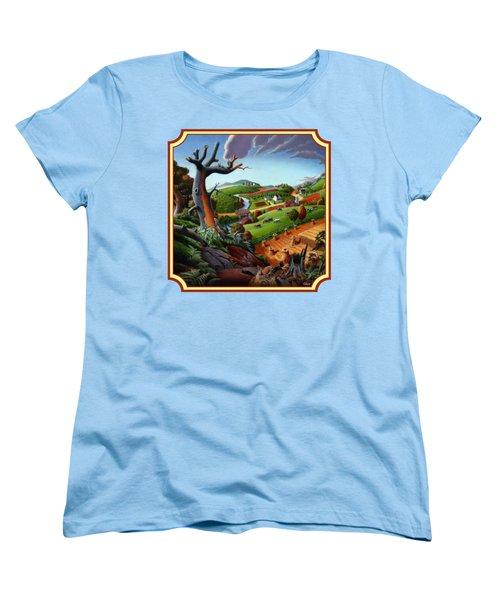 Autumn Wheat Harvest Country Farm Life Landscape - Square Format Women's T-Shirt (Standard Cut) by Walt Curlee