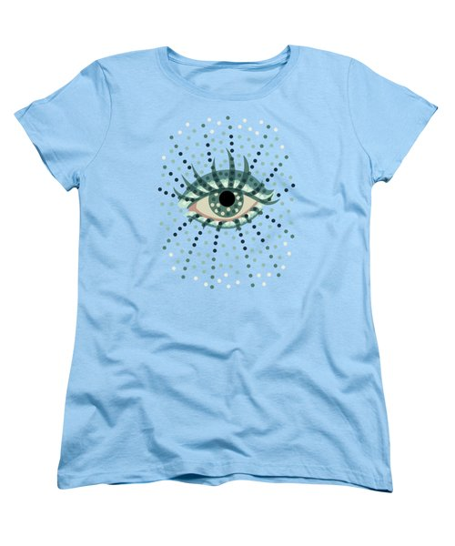 Beautiful Abstract Dotted Blue Eye Women's T-Shirt (Standard Cut) by Boriana Giormova
