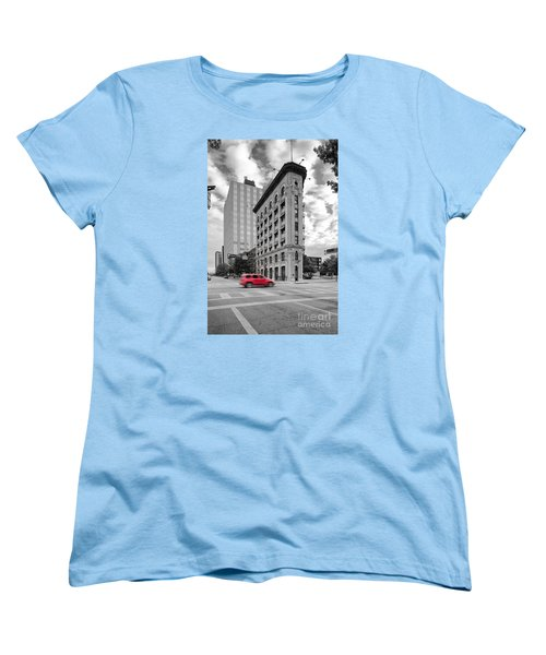 Black And White Photograph Of The Flatiron Building In Downtown Fort Worth - Texas Women's T-Shirt (Standard Cut) by Silvio Ligutti