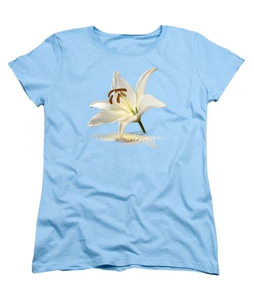 Blue Horizons - White Lily Women's T-Shirt (Standard Cut) by Gill Billington