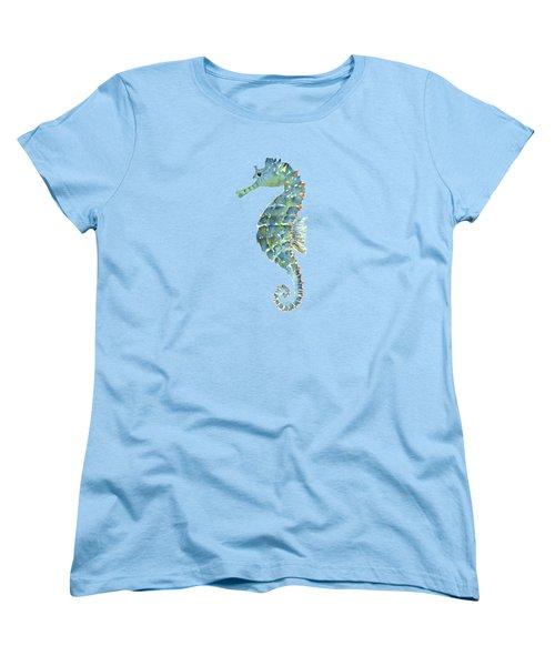 Blue Seahorse Women's T-Shirt (Standard Cut) by Amy Kirkpatrick