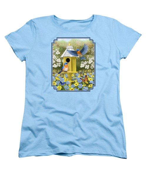 Bluebird Garden Home Women's T-Shirt (Standard Cut) by Crista Forest