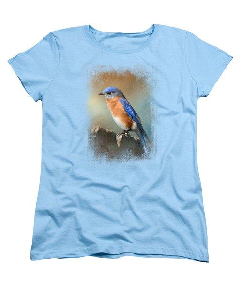 Bluebird On The Fence Women's T-Shirt (Standard Cut) by Jai Johnson
