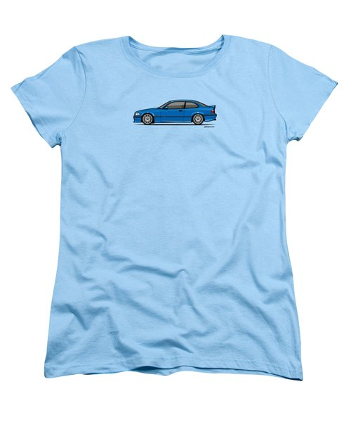 Bmw 3 Series E36 M3 Coupe Estoril Blue Women's T-Shirt (Standard Cut) by Monkey Crisis On Mars