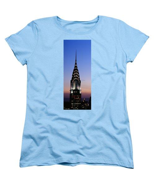 Building Lit Up At Twilight, Chrysler Women's T-Shirt (Standard Cut) by Panoramic Images